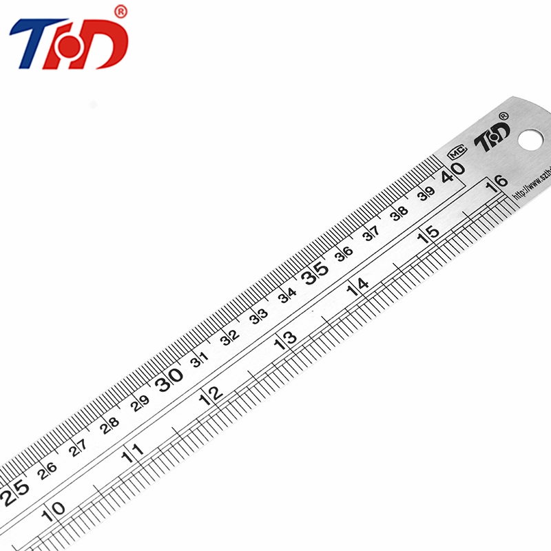 THD 15/20/30/40cm Steel Metal Ruler Metric Rule Precision Hardware Tools Ruler Double Faced For Office Papelaria