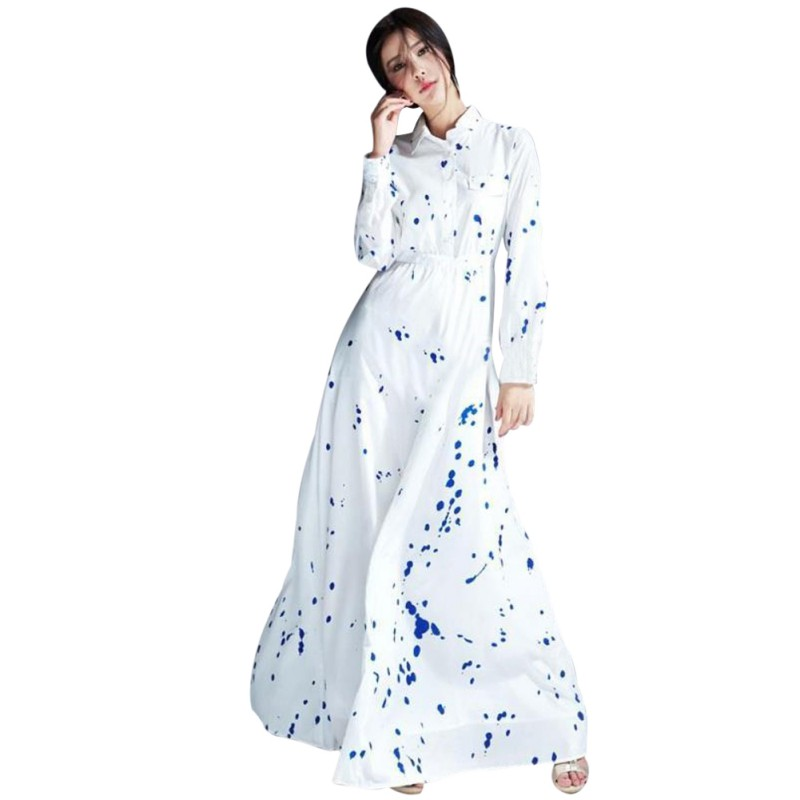 Cosy Women Fashion Dresses Long Sleeve Printed Dress Slim Long Bohemian Dress Casual Women Dress Female