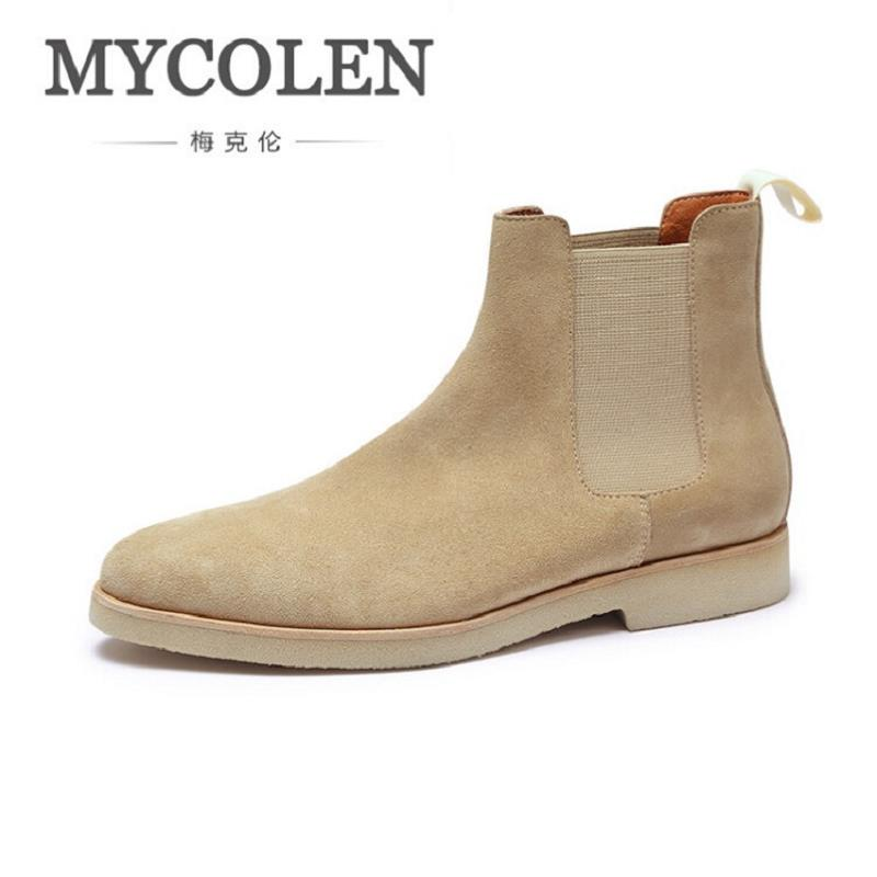 MYCOLEN Fashion Ankle Boots British Style Men Winter Genuine Leather Shoes Grey Winter Casual Shoes Botas Masculino serene handmade winter warm socks boots fashion british style leather retro tooling ankle men shoes size38 44 snow male footwear