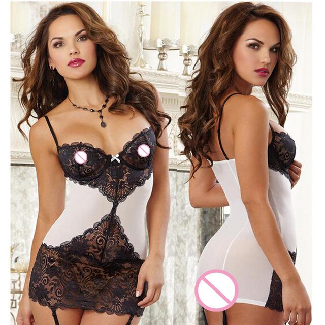 Alta qualidade sexy lingerie hot black white sexy lace Splice produtos do sexo erótico lenceria sexy chemise lingerie sexy traje