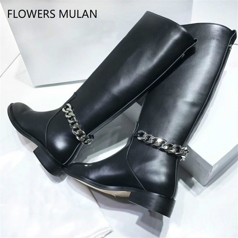 Black Real Leather Knee High Boots Women Round Toe Back Chain Knight Boots Woman Flat Fashion Ankle Boots WinterBlack Real Leather Knee High Boots Women Round Toe Back Chain Knight Boots Woman Flat Fashion Ankle Boots Winter