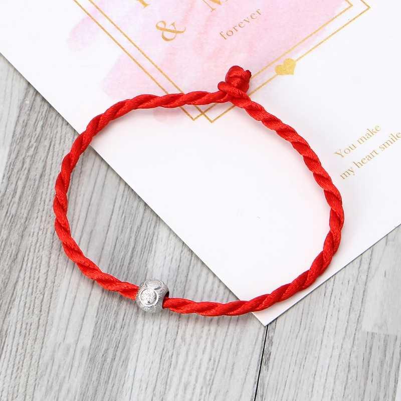 Szczęście czerwony sznurek linowy bransoletki koralik biżuteria ciąg linia ręcznie dla miłośników kobiet mężczyzn