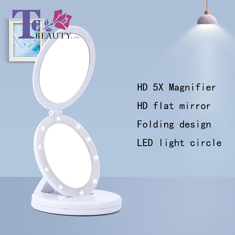 Makeup Mirror LED With Light Folding Round Double-sided Mirror With 5X Magnifying Glass Portable Mirror Creative New Products nyx professional makeup двустороннее зеркало dual sided compact mirror 03