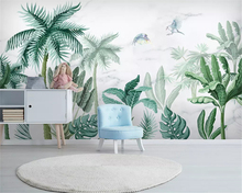 цена на beibehang Custom fashion silk crepe wallpaper classic hand-painted tropical rainforest plant landscape background 3d wallpaper