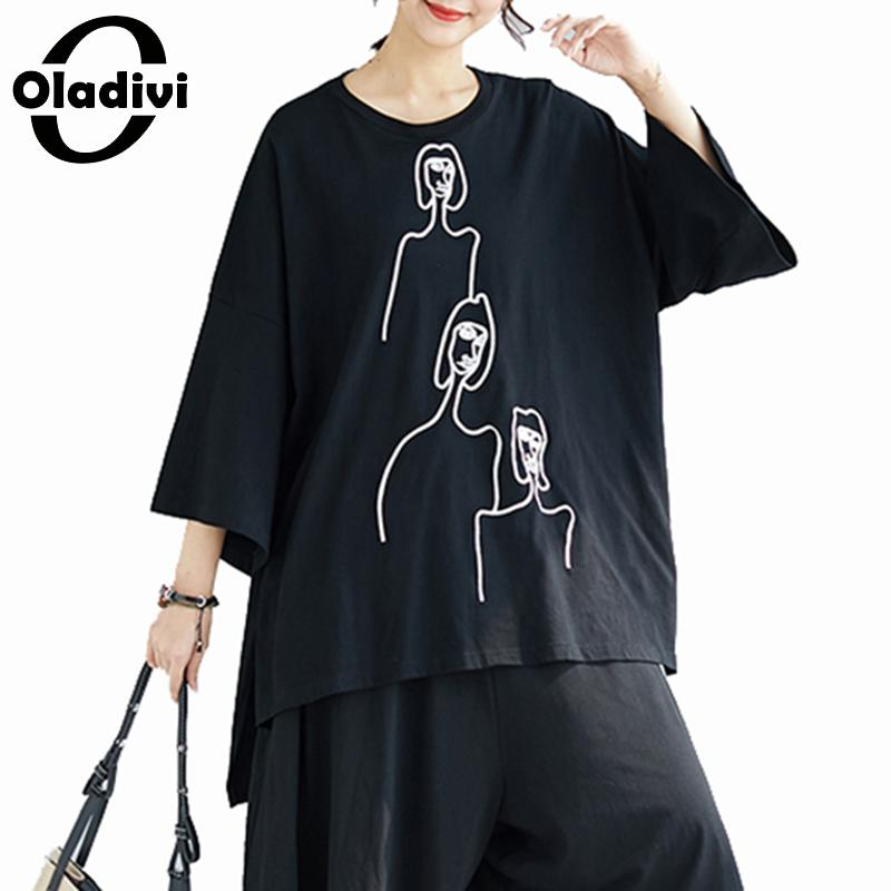 Oladivi Oversized Plus Size Women Fashion Print Simple Casual Top Tee Shirt Ladies Loose Short T-Shirt Female Short Sleeve Blusa