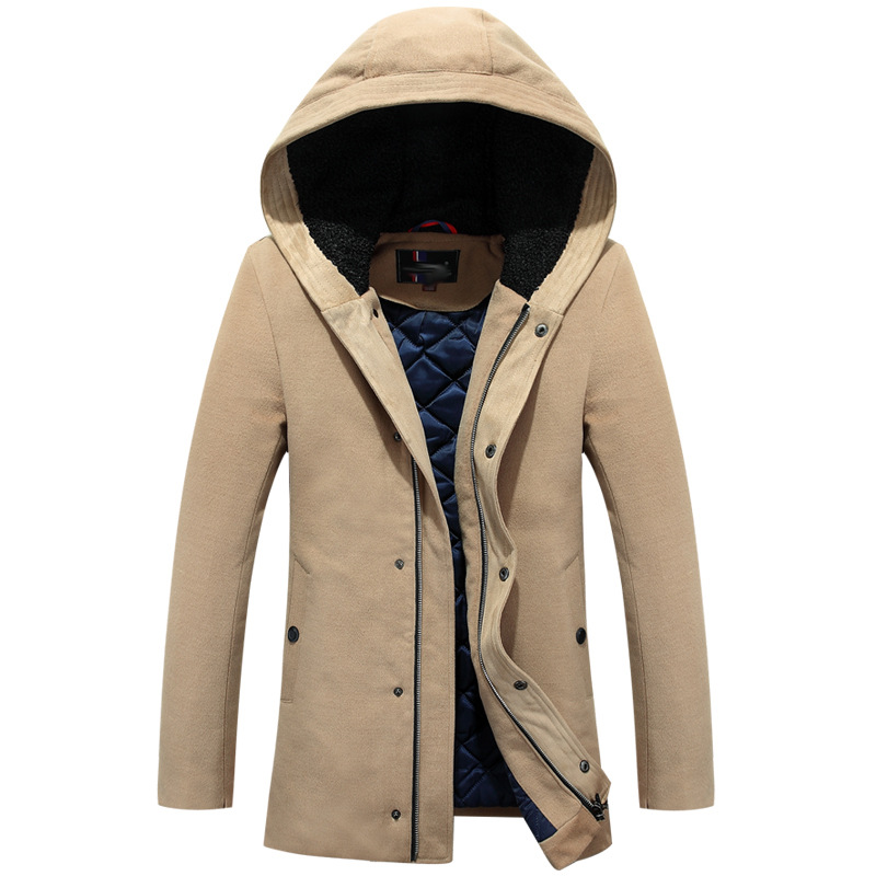 ФОТО Winter Jacket Men 2017 New Spring Cashmere Coat Mens Jacket And Coats Casual Hooded Thick Outwear For Men Clothing