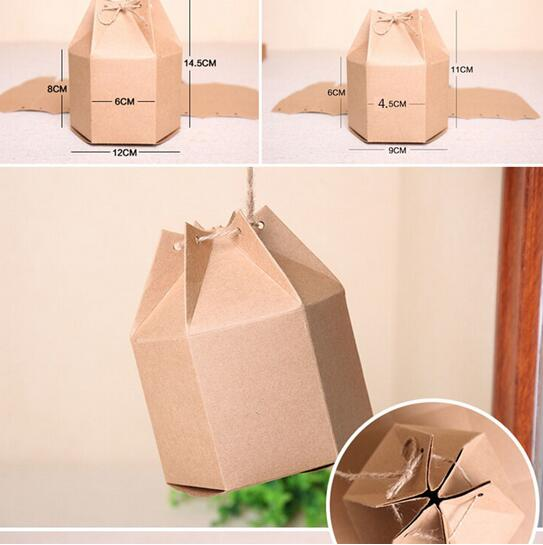 50pcs New Design Small Kraft Package Cardboard Paper Box Lantern