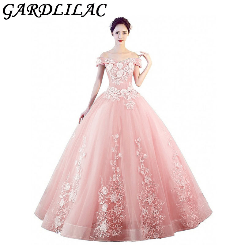 Gardlilac hors de l'épaule Quinceanera robes perlées dentelle appliques robes de bal fête formelle douce 16 Aline longue robe