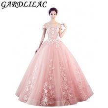 Женское платье с открытыми плечами gardlilac розовое бальное