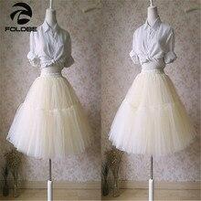 FOLOBE New Stock 5 Layers Long Celebrity Tulle Skirts Womens Midi Skirt Princess Adult Tutu Ball Gown Summer Style Faldas Saias