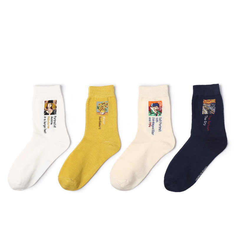 90S 80S אופנה נשים בנות אסתטי המונה ליזה ואן גוך ציור גרבי 5 צבעים 200 מחטי סריגה כותנה רטרו מצחיק גרביים