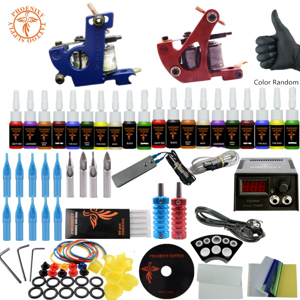 Tattoo Kit 20 Colors Tattoo Ink Sets 2 Machines Set Black Power Supply Needles Permanent Make Up Professional Tattoo Kit Set tattoo kit completed permanent makeup 2 machines set professional tattoo machine set 10 colors tattoo ink sets permanent make up