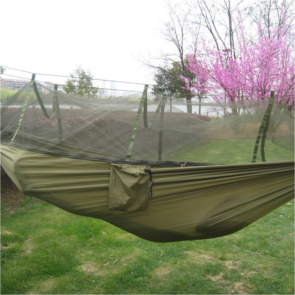 Outdoor hammock bed with cover - Portable Indoor Outdoor Hammock For Backpacking Camping Hanging Bed With Mosquito Net Sleeping Hammock Army Green