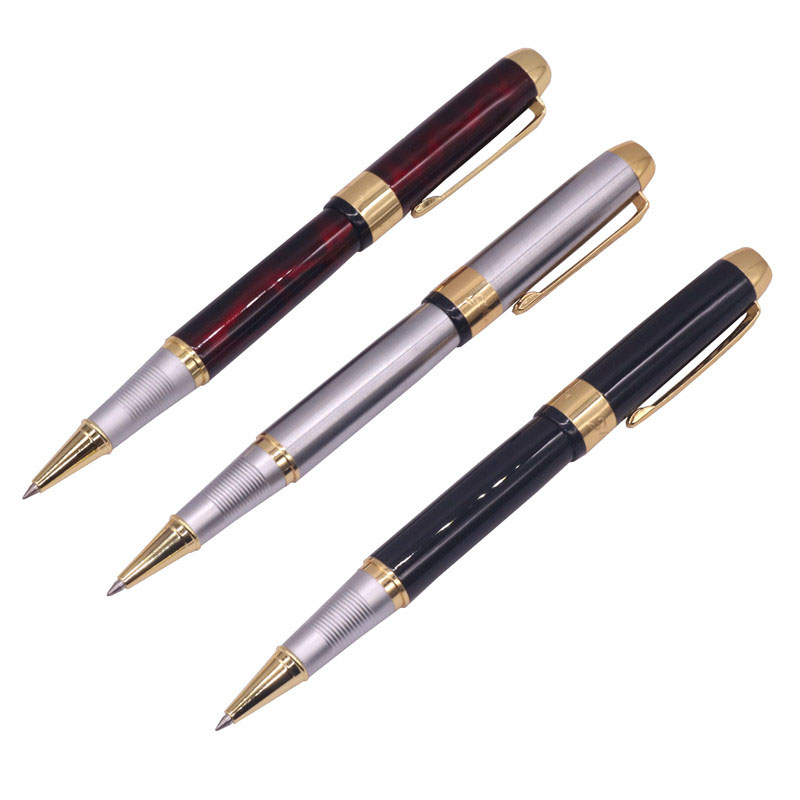 1 Pcs Metal Ballpoint Pen / Refill 15 Pcs Optional 0.8mm Bullet Nib Red Silver Black Facile Writer Blue Black Advanced Gift Pen