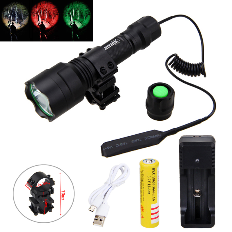 Tactical 2500lm T6 White Q5 Green/Red Light Flashlight Hunting Light Torch+Scope Mount +Pressure Switch+18650 Battery+Charger