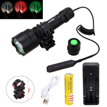 Tactical 2500lm XML T6 LED Flashlight Hunting Light Torch+Shotgun/Rifle+ Mount +Pressure Switch+Battery+Charger 6000 lumens trustfire 3 x xml t6 led hunting flashlight 5mode 3t6 torch light suit gun mount remote pressure switch charger