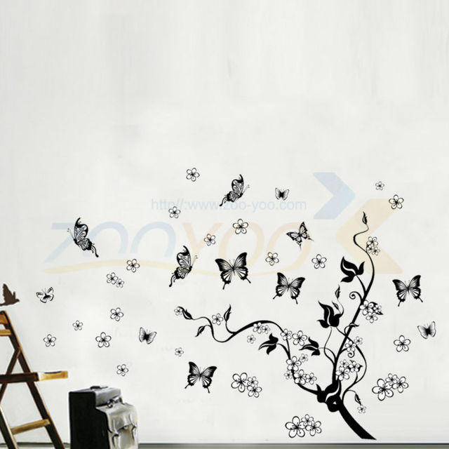 Flying Butterfly Around The Black Tree Wall Decal Bedroom Decoration  Flowers Tree Wall Stickers Decals Poster Part 38
