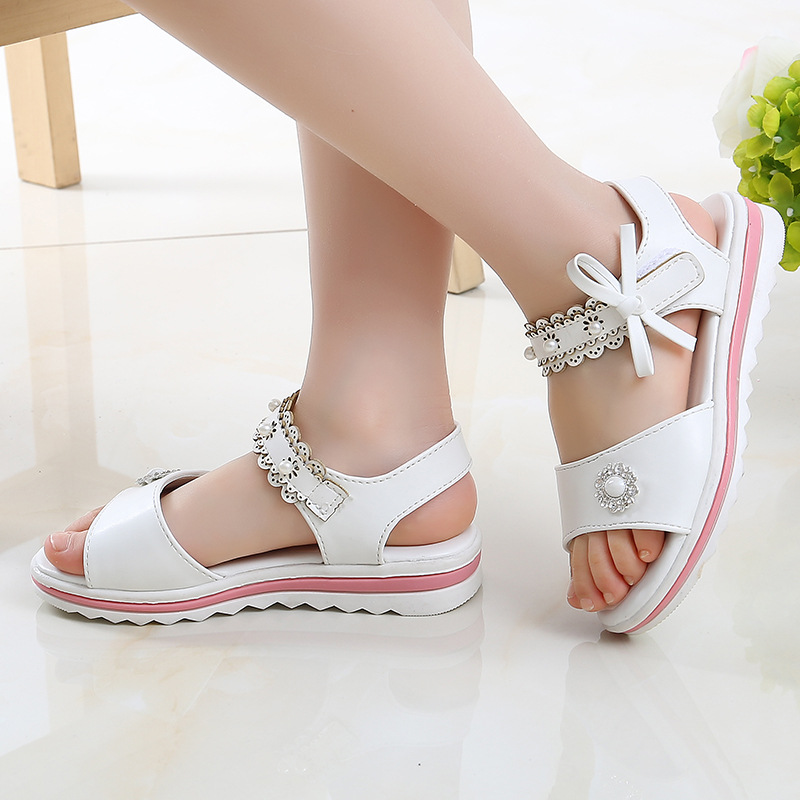 Children'S Shoes Flowers Girls Sandals 2019 New Summer Students Big Girls Child Little Girl Princess Shoes 4 5 6 7 8 9 10 11 12