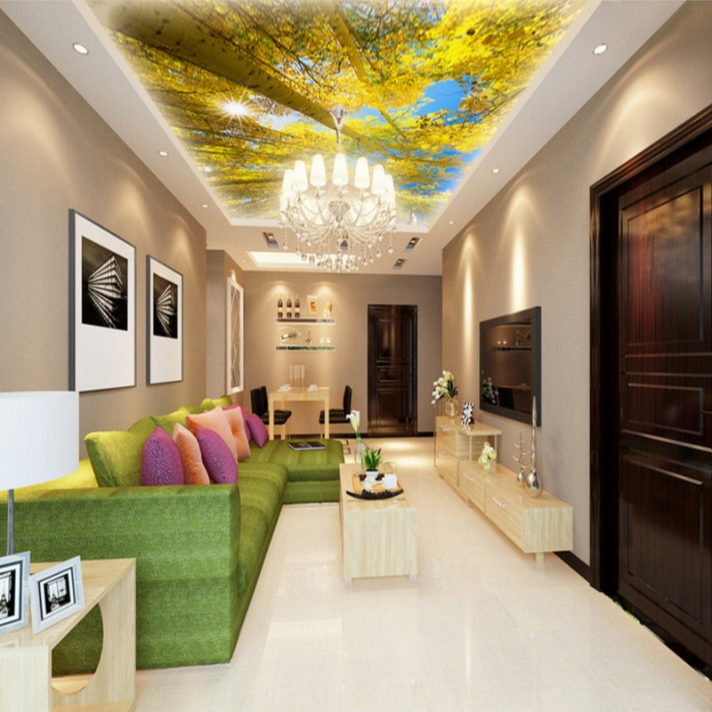 Custom photo wallpaper 3D stereo wallpaper Tree view ceiling zenith wallpaper custom living room bedroom office cafe mural custom 3d stereo ceiling mural wallpaper beautiful starry sky landscape fresco hotel living room ceiling wallpaper home decor 3d