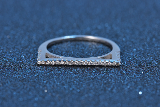 Sterling Silver Pave Letter D Crystal Ring