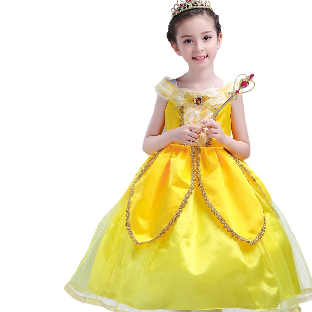 2017 movie Beauty and The Beast Princess Belle Dress Girl kids formal Evening dresses baby girls cotton party dress Clothes beauty and the beast princess bella beast pvc figures toys girls gifts 6pcs set