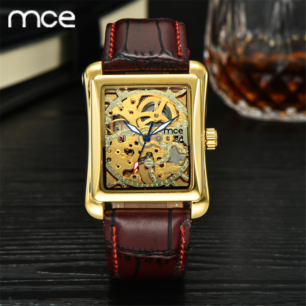 ФОТО MCE New Fashion Brand Women Mechanical watch Hand Wind Skeleton gold watch For women Brown Leather Band Wrist watches for women