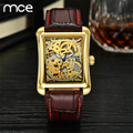 MCE New Fashion Brand Women Mechanical watch Hand Wind Skeleton gold watch For women Brown Leather Band Wrist watches for women