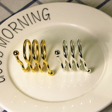 6PCS heart-shaped spring napkin ring stainless steel gold silver hotel buckle