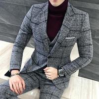 Мужские костюмы с брюками черный серый клетчатый смокинг формальный Slim Fit Мужские костюмы выпускные деловые повседневные на заказ узор тви