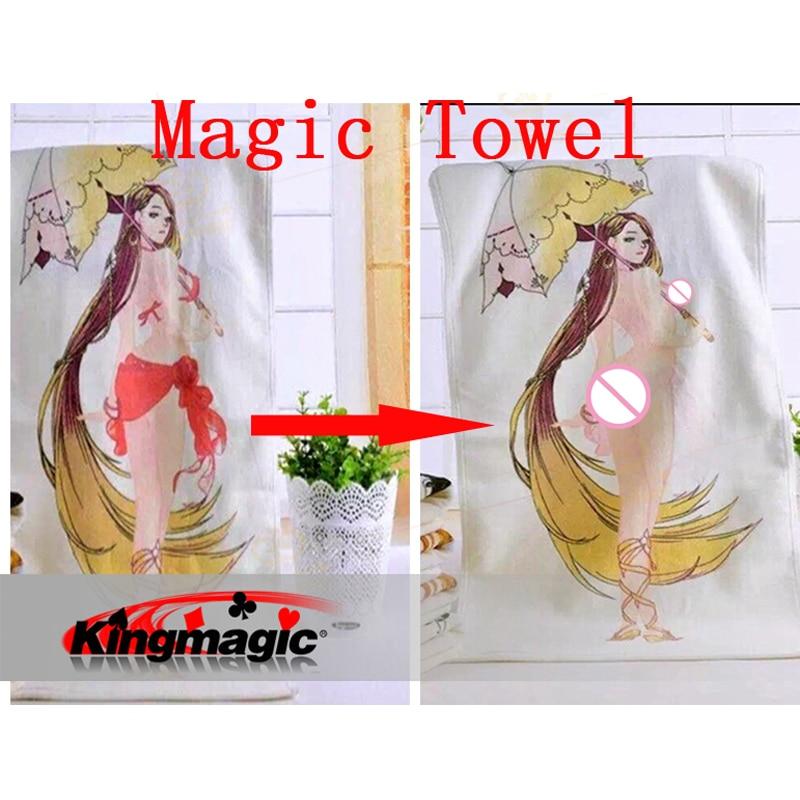 2019 Νέα μαγεία πετσέτα 1pcs 33 * 75cm μαλακό βαμβάκι Με ζεστό νερό το κορίτσι θα βγάλει τα ρούχα Magic τέχνασμα εύκολο να κάνει Joke Magic Tool