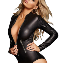 YINGWO Black leathery long sleeve zip detail sexy faux leather nightclub tight