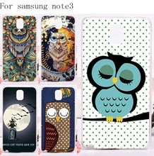 Plastic and Silicon Mobile Phone Cover For Samsung Galaxy Note III 3 Note3 Cases Oxytropis Retro Stylish DIY Night Owl Protector