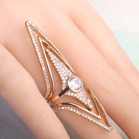 Filled Zircon Rhombus Diamond Rings Copper 18K Gold Wedding Engagement Ring Set For Women Star Shape