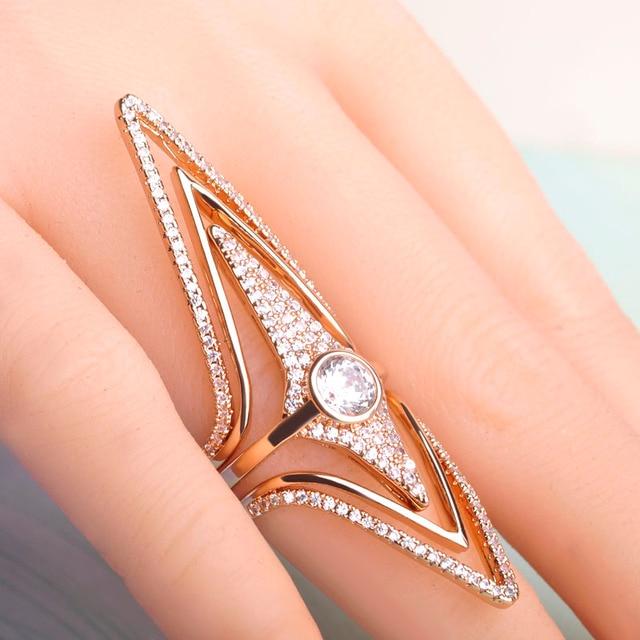 Blucome Filled Zircon Rhombus Rhinestone Rings Copper Wedding