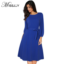 MISSJOY Women Vintage 1950s 1940s 3/4 Sleeve Dress with Belted Wear to Work A-line Boat Neck Knee Length Swing Party Dress boat neck belted maxi dress