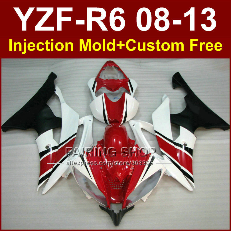 New Red white Motorcycle Injection mold fairing kit for YAMAHA 2008 2009 2011 2013 YZF-R6 ABS body parts YZFR6 08-13 YZF1000 R6