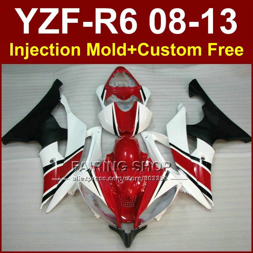 Nuovo Rosso bianco Moto Stampaggio Ad Iniezione carena kit per YAMAHA 2008 2009 2011 2013 YZF-R6 ABS parti del corpo YZFR6 08-13 YZF1000 R6