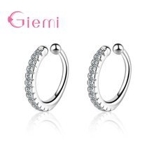 Top Brand 925 Sterling Silver Ear Clip Earrings Simple CZ Crystal Paved Circle Loop Design Cuff Jewelry for Wedding Engagement(China)