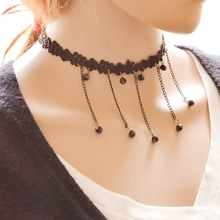 Gothic Tassel Tattoo Black Lace Necklaces For Women Fashion Beads Vintage Choker Necklaces New Fashion Wedding Jewelry Collar
