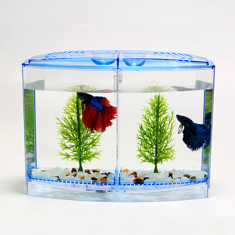 Aquarium Acrylic Double Betta Bowl Fighting Fish Mini House Incubator Box For Fry Isolation Hatchery Reptile Cage Turtle House