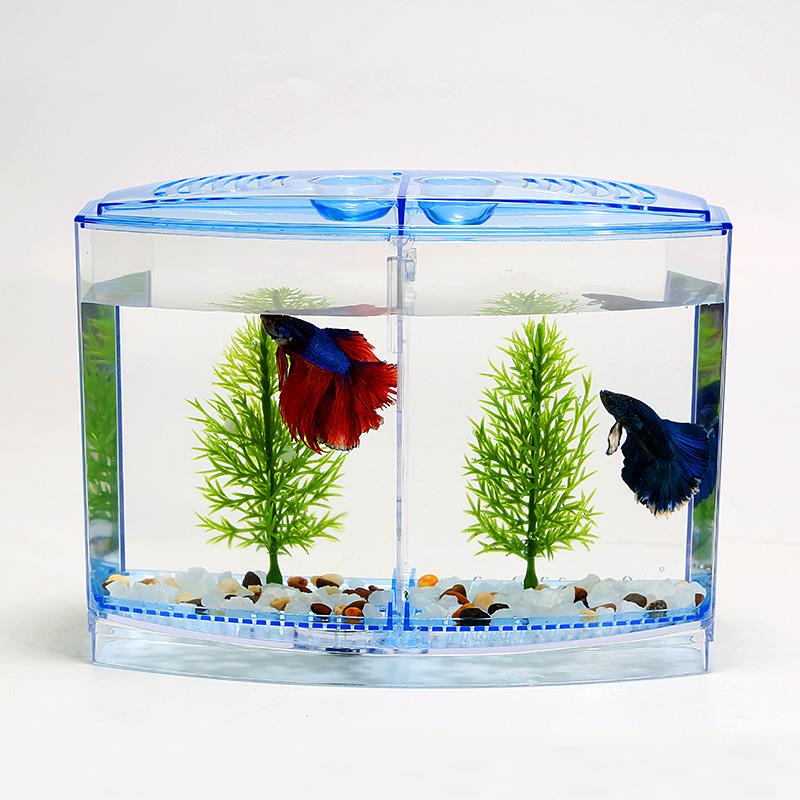 acuario de acrlico doble cuenco betta peces luchadores mini casa caja de aislamiento fry criadero incubadora