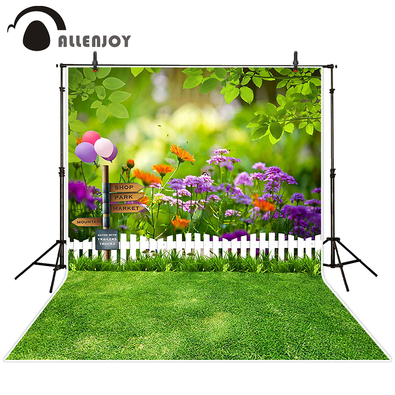 Allenjoy photographic spring background Balloon woods grass lovely backdrops newborn kids photo photocall 10x20