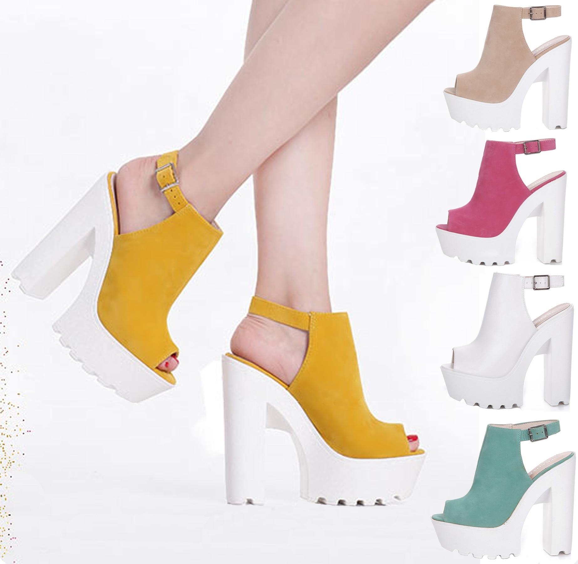 Фирменная Новинка Мода Стабильный белый толстый каблук платформы с открытым носком сексуальные Обувь на высоком каблуке классные босоножк...