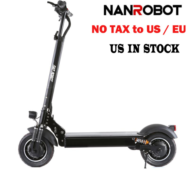 "NANROBOT D4+ Adult Electric Scooter 10"" 52V23Ah 2000W Motor Powerful Foldable 45 Miles and 40 MPH 2 Wheel kick e Scooters"