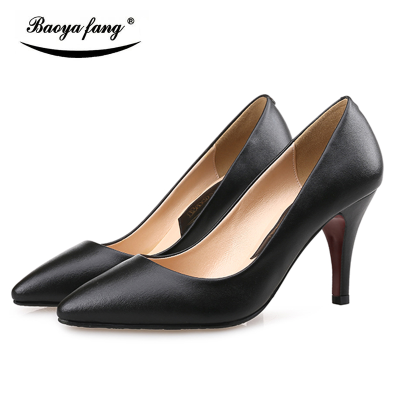 BaoYaFang New Spring/Autumn Ladies office signle shoes Black leather shoes woman High heels Pumps red sole fashion shoes siketu 2017 free shipping spring and autumn women shoes fashion sex high heels shoes red wedding shoes pumps g107