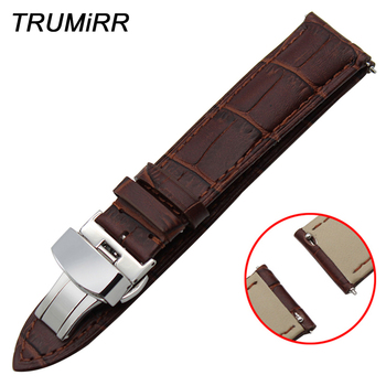 22mm Quick Release Watchband Butterfly Buckle Strap for Vector Luna Meridian 1st Layer Genuine Leather Watch Band Wrist Bracelet