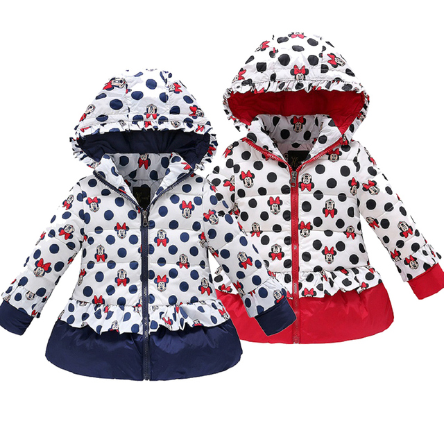 Cheap Minnie winter jacket for Girl Warm Hooded Imitation leather windbreak Children Coats Cotton Baby clothes Kids Jackets Coat parka