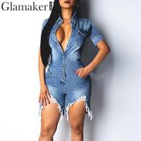 Glamaker deep V neck sexy short jean jumpsuit rompers Women blue hollow out bodycon playsuit Summer female club denim overalls
