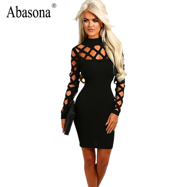 823a6a7d28 New Autumn Fashion Hollow out Long Bandage Sleeve Elegant Women Dress Back  Cut out Sexy Party Night Club Wear
