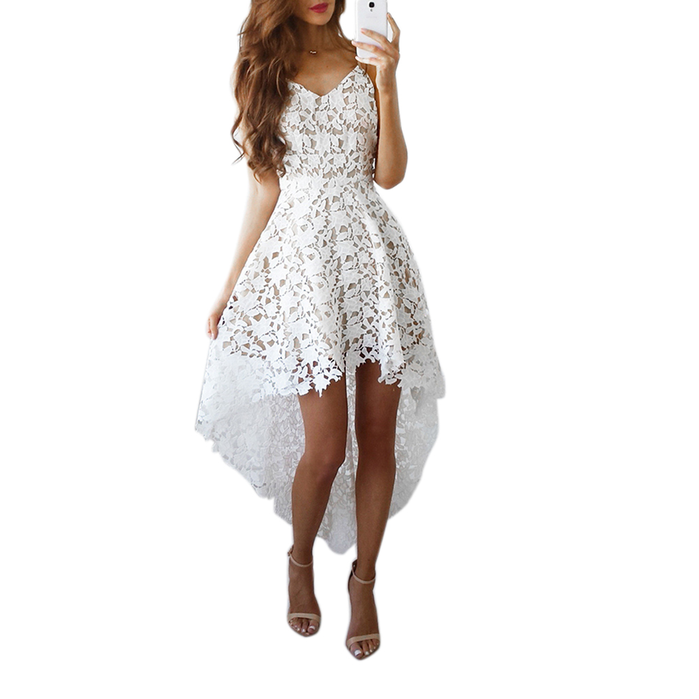 4ad9e22732 Ruffles Chiffon Lace Camisole Dresses Strap v Neck Summer Beach Date Sexy  Irregular Barelegged Dress | imarket online shopping